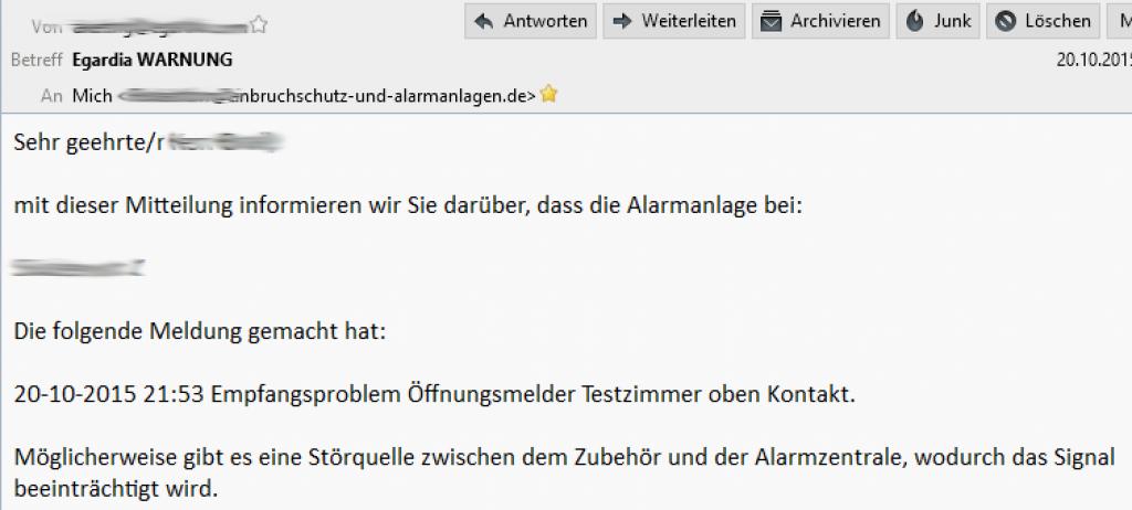 E-Mail meldet den Ausfall eines Türkontaktes