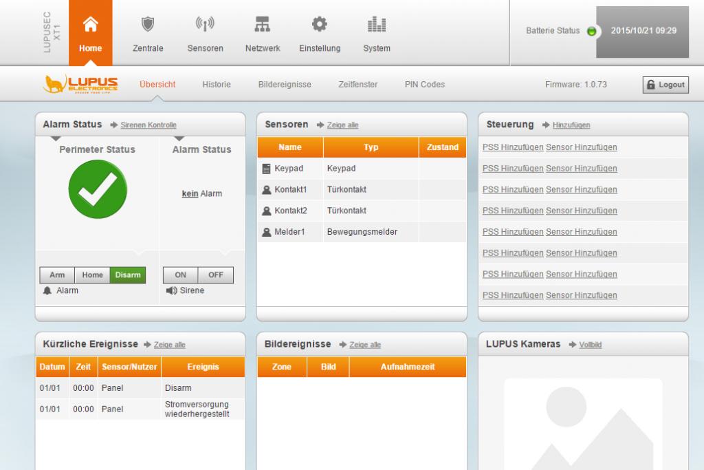 Alarmanlage Lupusec-XT1 Web-interface