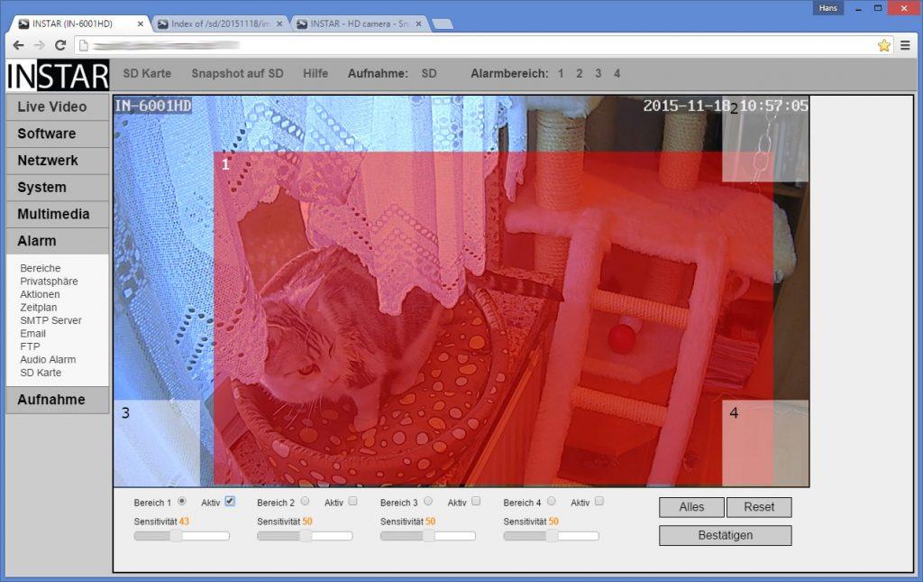 Instar IN-6001HD arbeitet als Bewegungsmelder