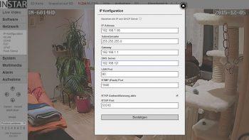 IP Konfiguration Instar IN-6014 HD WLAN Kamera
