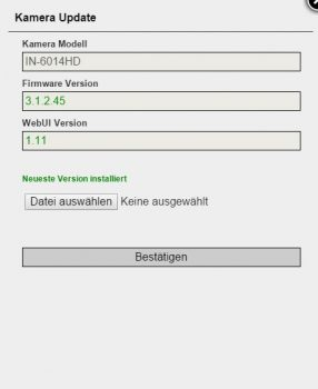 Firmware Update Instar IN-6014 HD WLAN Kamera
