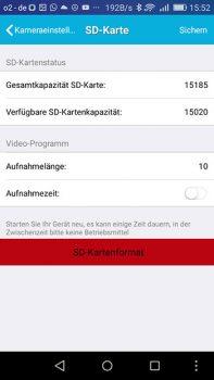 SD.Karten Einstellungen der App