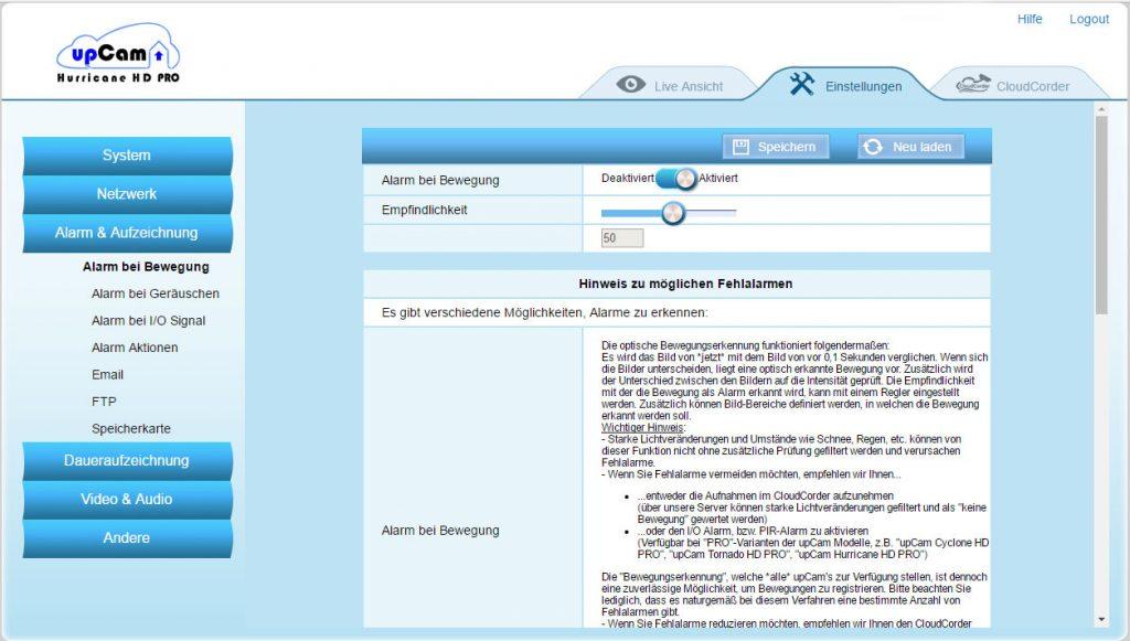webinterface5-upCam-Hurricane-HD-Pro-Test-bewegungsalarm
