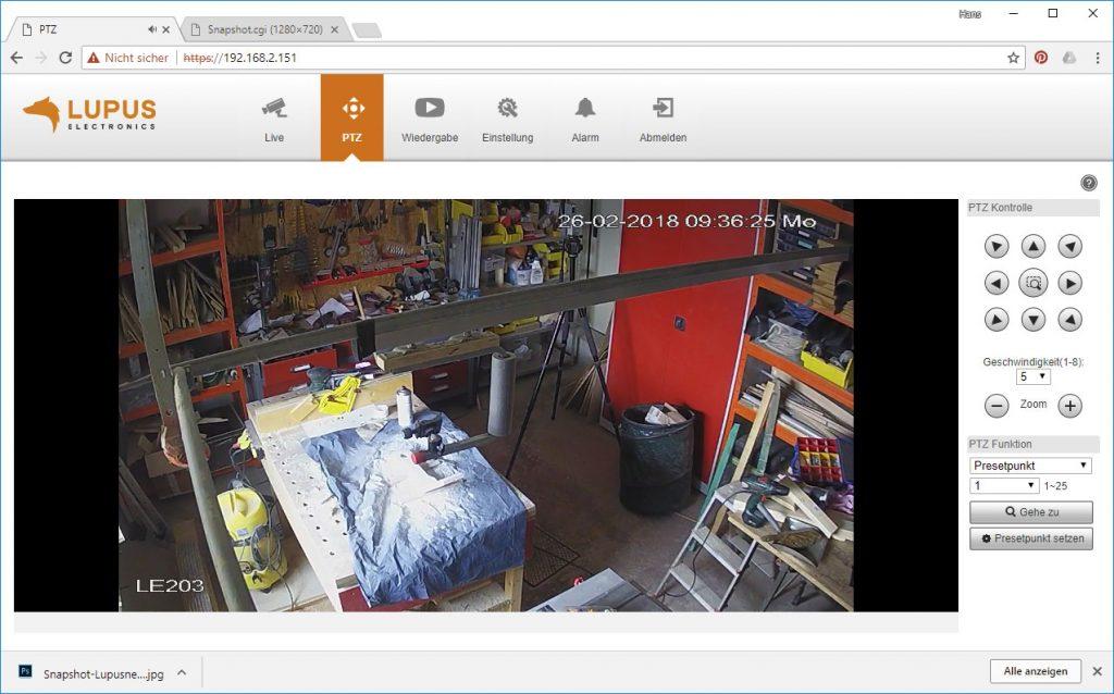 Webinterface-Lupusnet-LE203-Test-Ueberwachungskamera-PTZ2