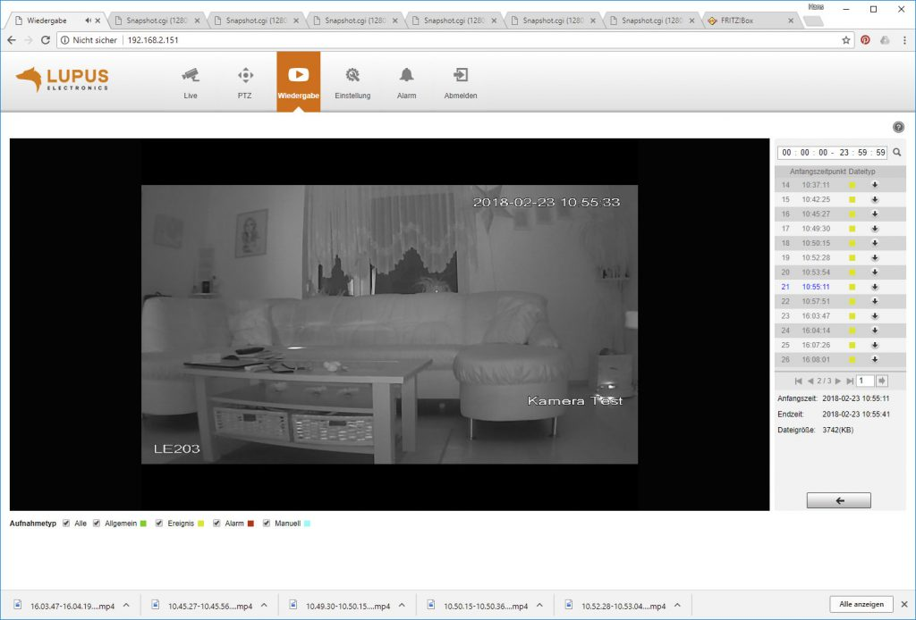 Webinterface-Lupusnet-LE203-Test-Ueberwachungskamera-Video-Wiedergabe