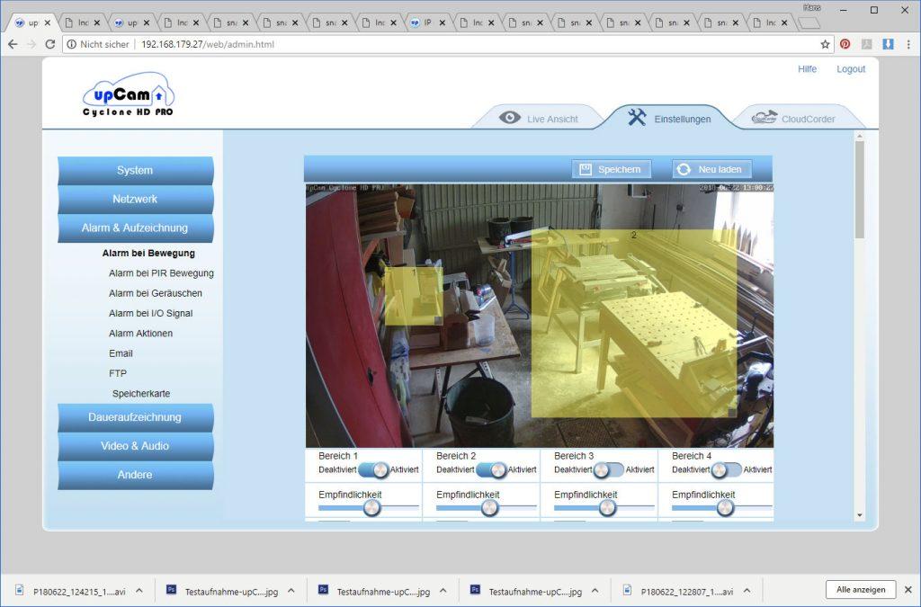upCam-Cyclone-HD-PRO-Test-Einstellungen-Alarmzonen