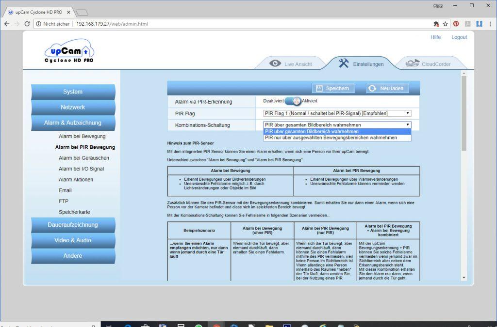 upCam-Cyclone-HD-PRO-Test-Einstellungen-PIR-Einstellungen