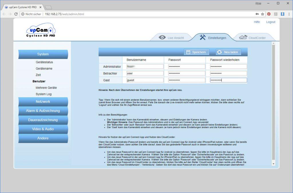 upCam-Cyclone-HD-PRO-Test-Passwort