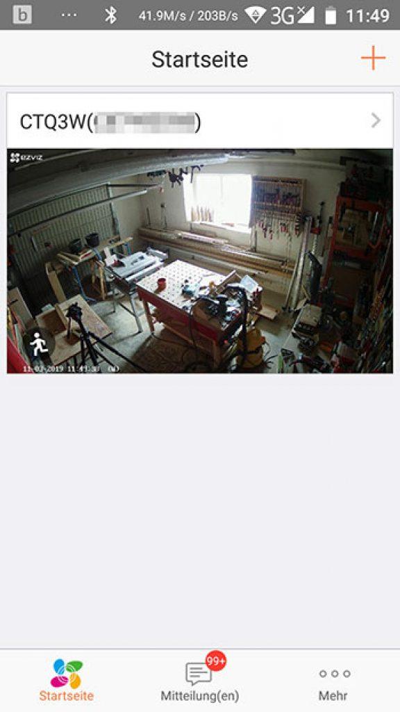App-EZVIZ-Ueberwachungskamera-CTQ3W-Startseite