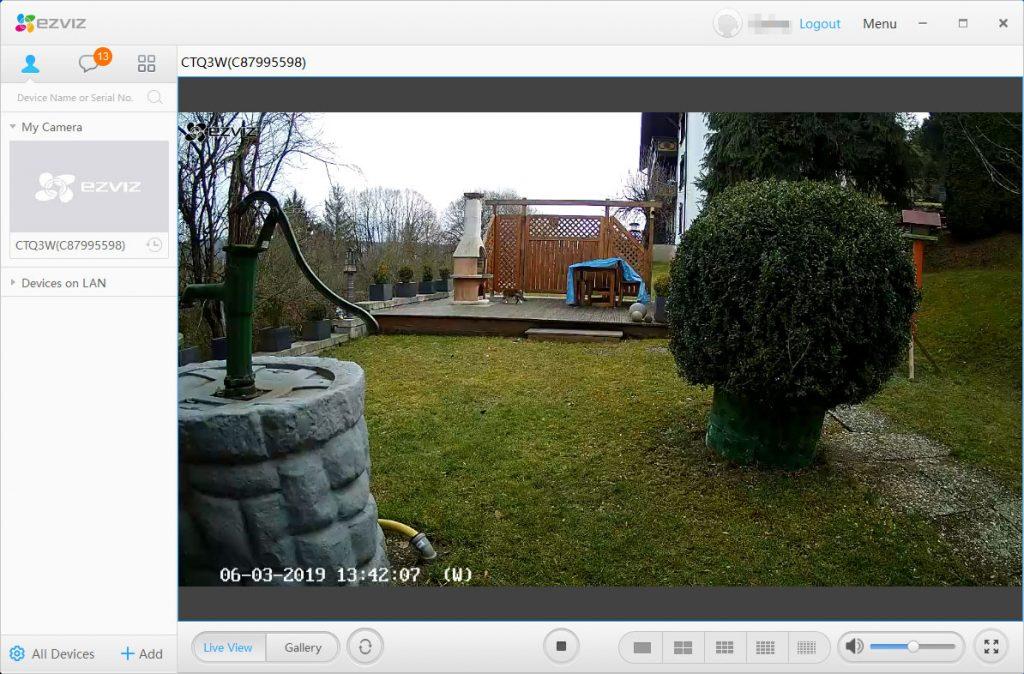 EZVIZ-Studio-Test-uberwachungskamera-Hauptscreen