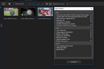 Auszug aus Videoschnittsoftware