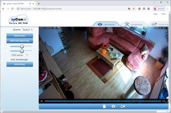 upcam-Vortex-HD-Test-Ueberwachungskamera-hauptscreen-innenraum