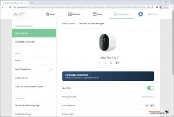 Arlo-Pro-3-Test-PC-Interface-Einstellungen-2