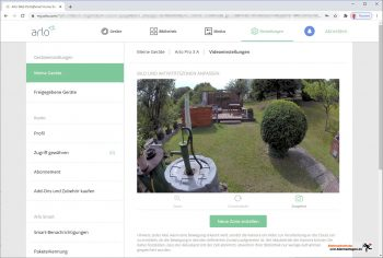 Arlo-Pro-3-Test-PC-Interface-Videoeinstellungen