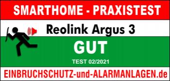 Bewertung Reolink Argus3 Testergebnis